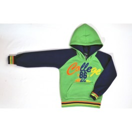 sweater college felgroen/lblauw